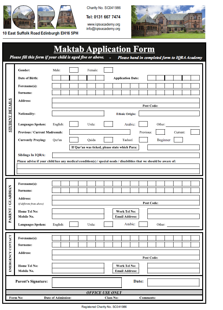 Makhtab Application Form